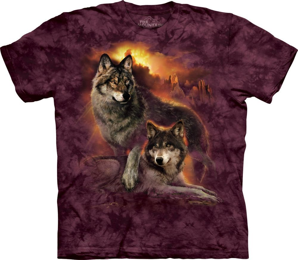 3d0bab782a9 Wolf Sunset Zoo Animals T Shirt Adult Unisex The Mountain