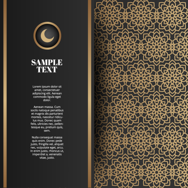 Gold Vintage Greeting Card On A Black Background, Islamic ...