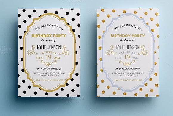 Elegant Birthday Party Invitation II By Annago On Creative Market - Birthday invitation cards tumblr