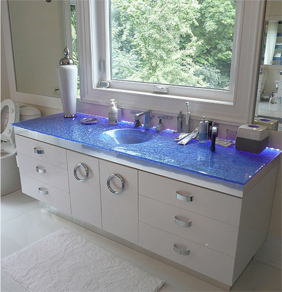 Custom Glass Vanity Top With Integrated Sink Sinksgallery Countertops