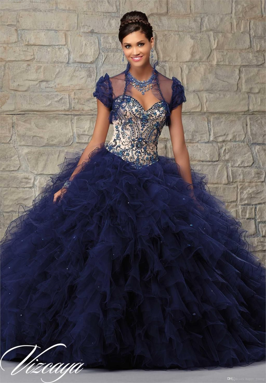 4ef3617d2ed61 Popular Navy Blue Sweet 15 Dresses   Navy Blue Quinceanera Dress ...