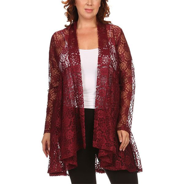 Pretty Young Thing Burgundy Lace Flyaway Cardigan ($25) ❤ liked ...