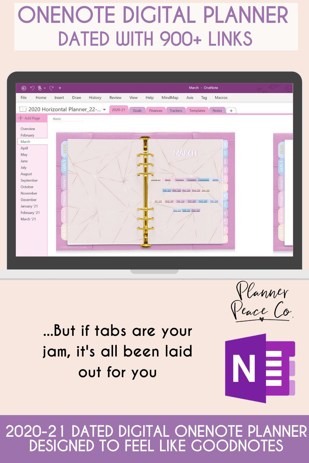 2020 dated OneNote Planner with hyperlinks, Windows Planner, Surface Planner, Android Planner, iphone planner, iPad Pro Planner