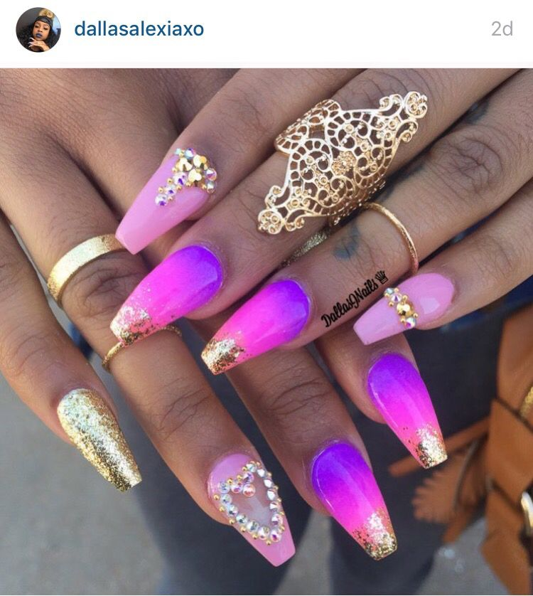 Ombr 233 Pink Purple And Gold Coffin Nails With Crystals Ballerina Acrylic Nails Pink Ombre