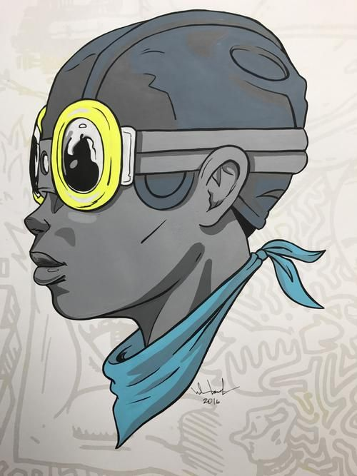 Fly Boy - 2016 Hebru Brantley ORIGINAL painting Beyond Kirby Flyboy