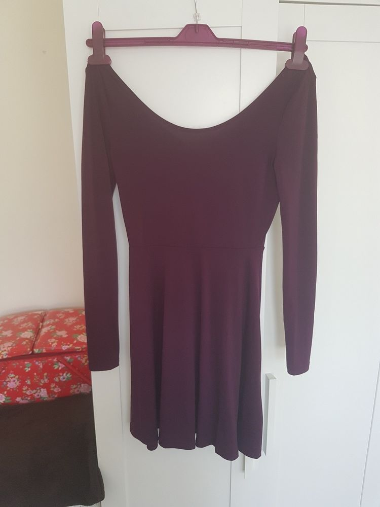 77827fd3627c H M Purple Plumb Low Neck Skater Party Dress Long Sleeve - UK Small  fashion