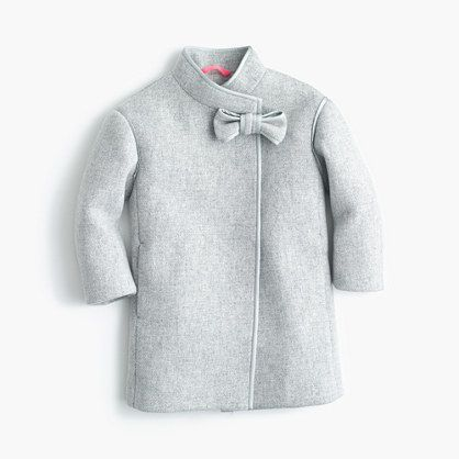 Girls' stadium-cloth bow coat