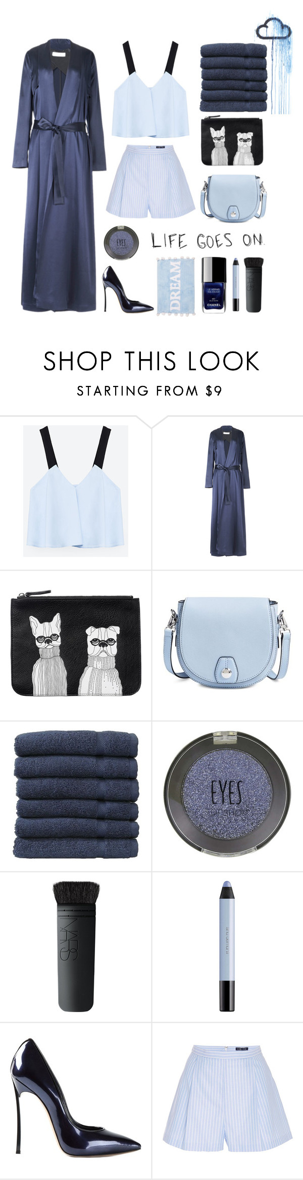 """""""Tricky Trend: Daytime Pajamas"""" by thismay ❤ liked on Polyvore featuring Zara, Galvan, Monki, rag & bone, Linum Home Textiles, Topshop, NARS Cosmetics, shu uemura, Casadei and MDS Stripes"""