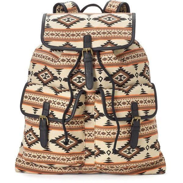 Mudd Rachel Aztec Backpack (Beige/Khaki) ($20) ❤ liked on Polyvore featuring bags, backpacks, brown backpack, brown bag, drawstring backpack, khaki backpack e aztec print backpack