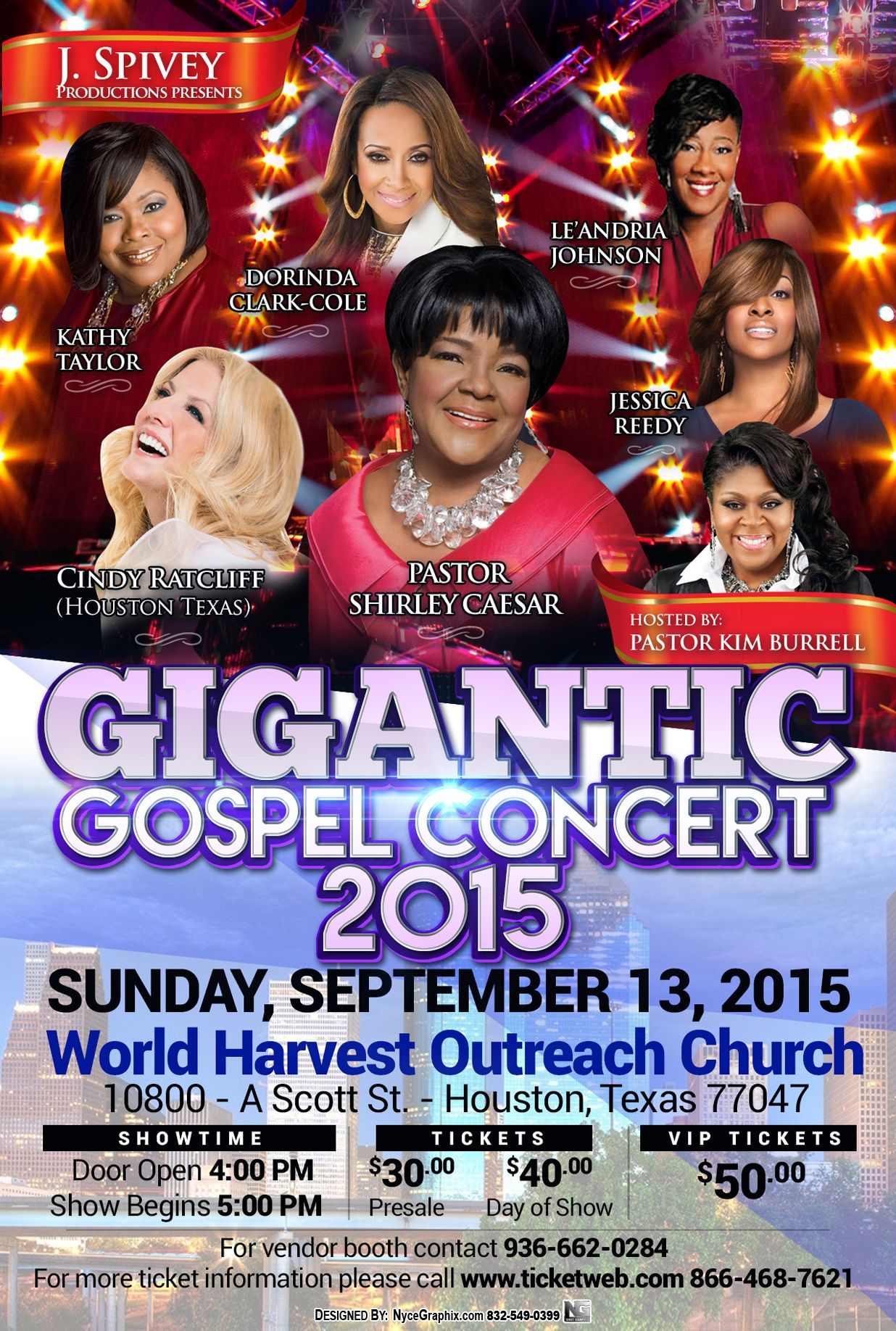 Tick tock....don't let the time get past you by. Get your tickets to the Gigantic Gospel Concert while tickets last. What an amazing lineup of women! An all female gospel lineup...a J. Spivey production. Two shows, one in Dallas (9/12/15) and one in Houston (9/13/15). www.ticketweb.com 866-468-7621