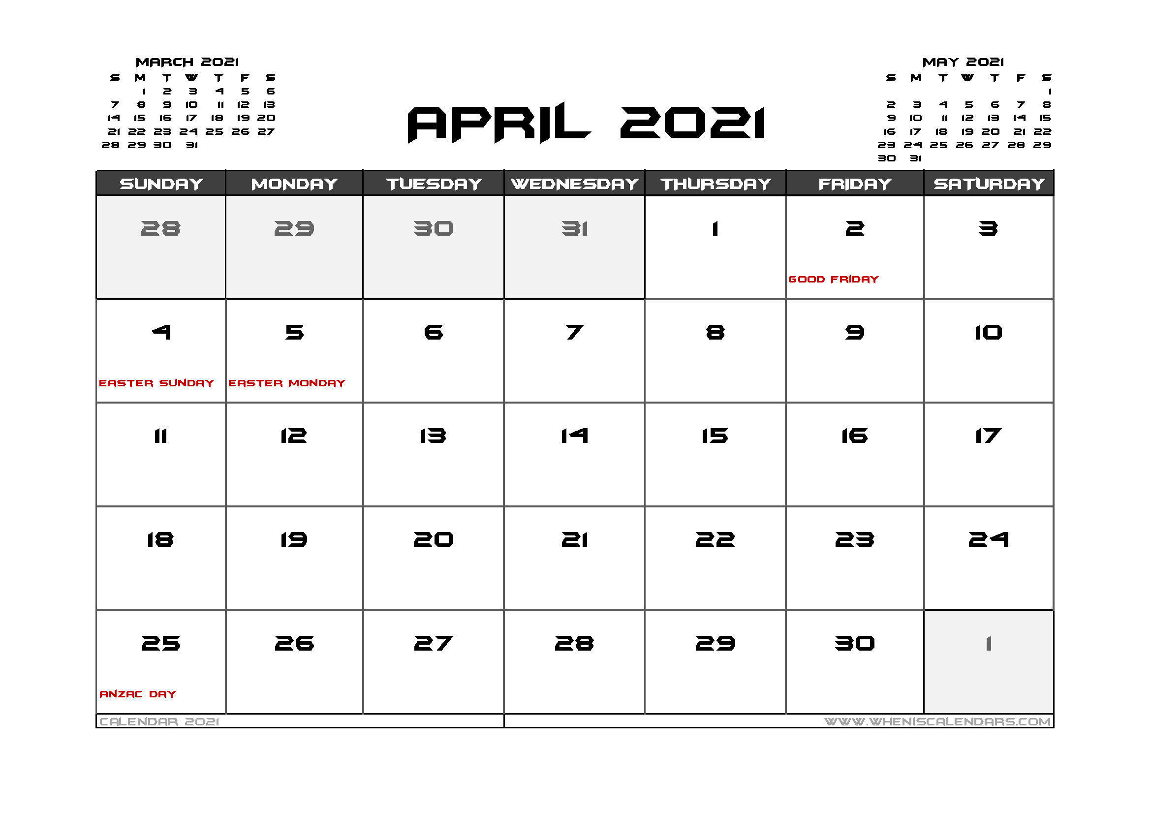 April 2021 Calendar Australia Printable In 2020 Calendar Uk 2021 Calendar Calendar Australia