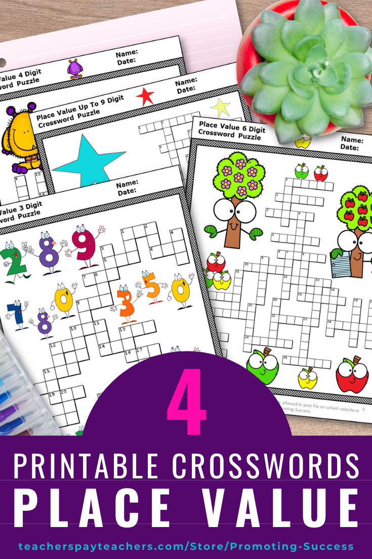 Place Value Activities Crossword Puzzle Worksheets Bundle 2nd 3rd 4th Grade    Elementary lesson plans activities [ 1102 x 735 Pixel ]