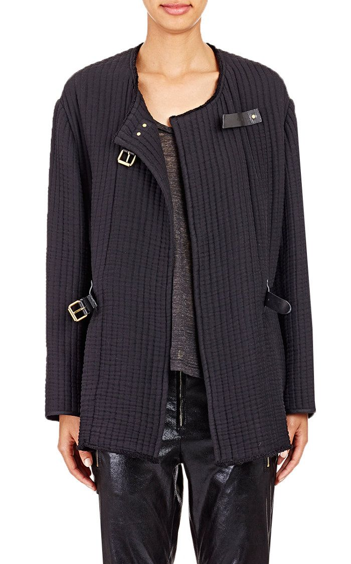 Quilted Glasco Jacket Isabel Marant black channel-quilted cotton Glasco jacket detailed with black leather buckle straps.   Raw-edge round neck, slight drop shoulders, cased elastic waist at back, side-seam vents, raw-edge hem, studded black leather roller buckle straps, goldtone hardware Buckle closure at front Bound seams at interior Available in Black 100% cotton Dry clean Imported