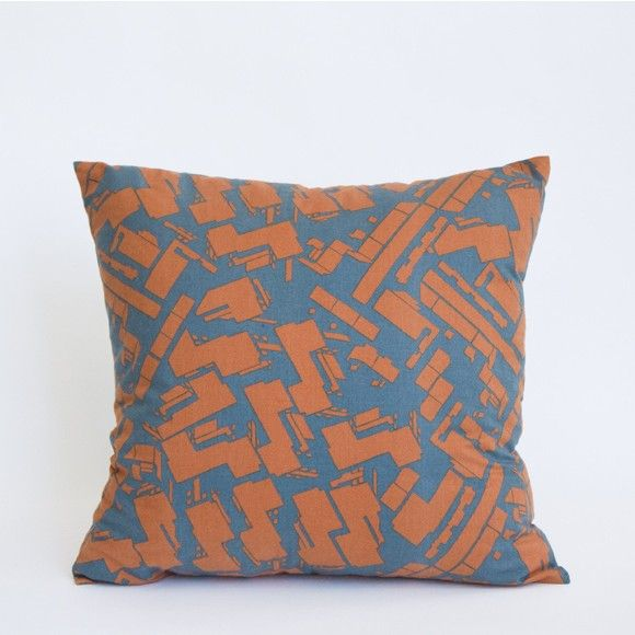 Mociun Teal and Orange Casbah Print Pillow