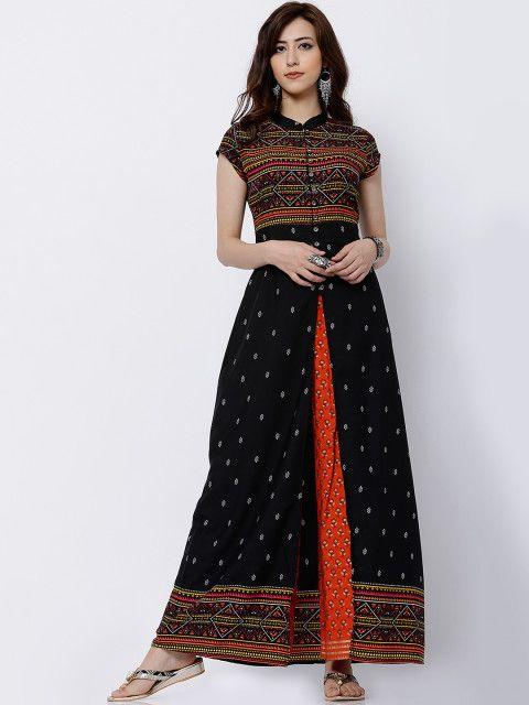 e768a4ef313 Buy Vishudh Women Black Printed A Line Kurta - Kurtas for Women ...