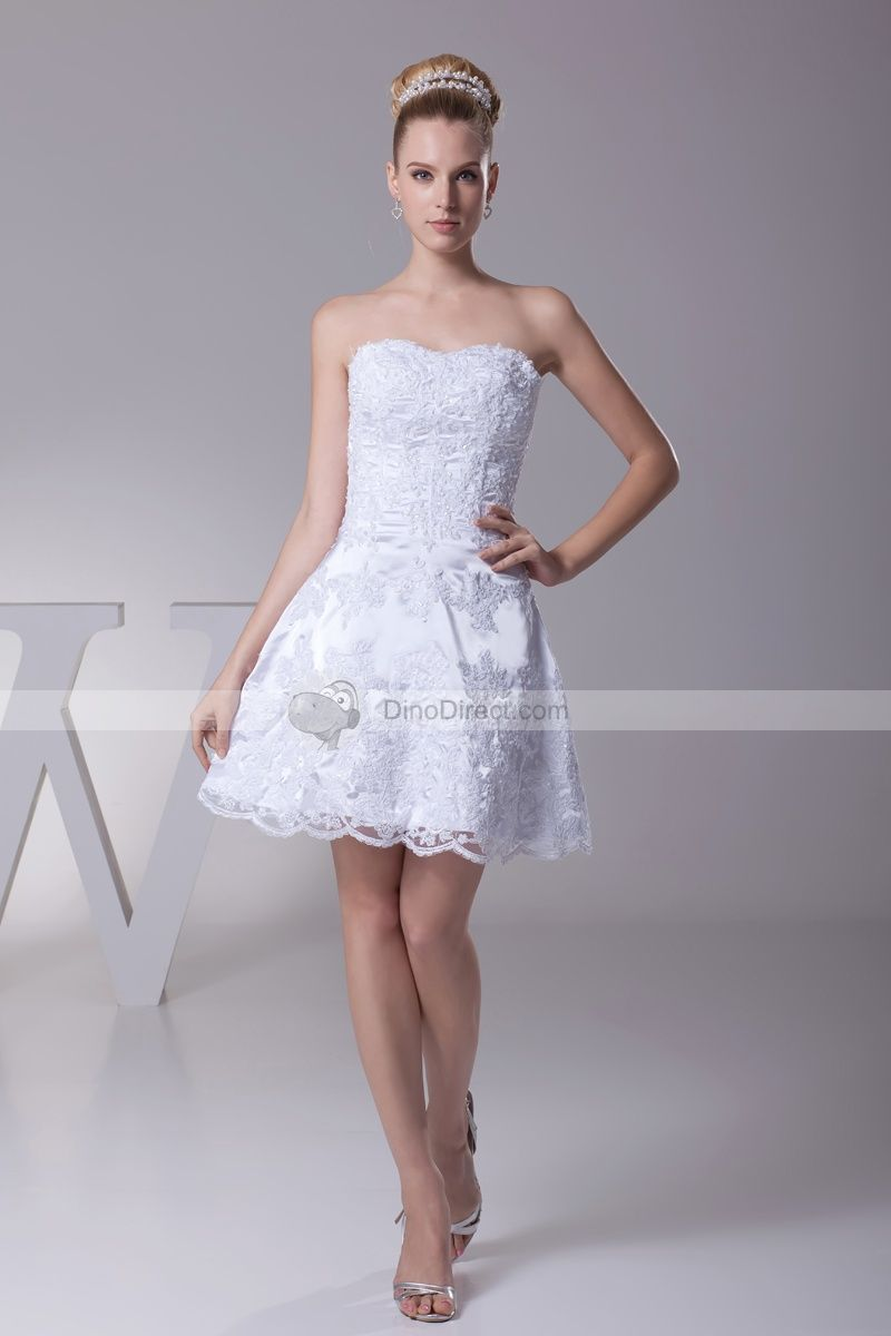 Mini white wedding dress  Lace u Beading Sweetheart Thigh Length Imitation Silk Mini Wedding