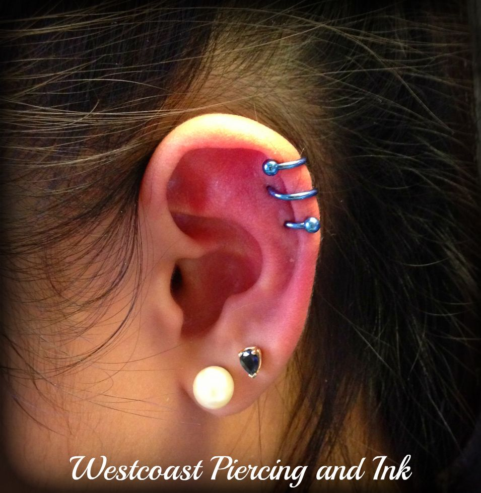 Healed Double Spiral Piercing