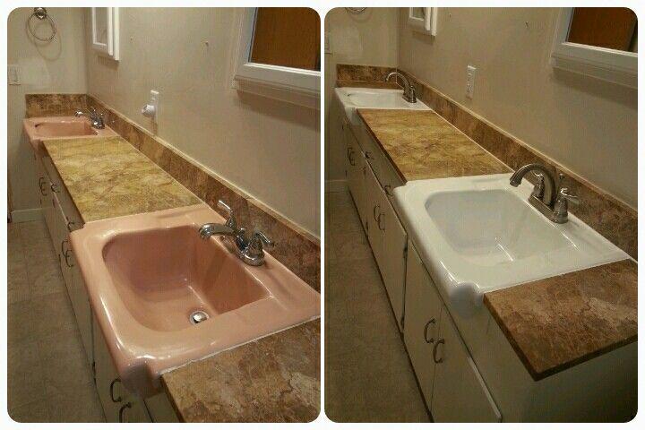 Low Cost Upgrade To Bathroom Countertop Reglaze Sinks New
