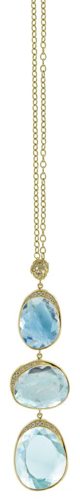 Vicente Agor Snow Cap pendant necklace in gold with aquamarine and diamonds