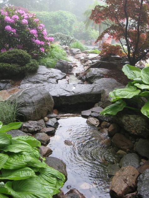 Steine und Gartenpflanzen Inspiration Teich anlegen Landscaping