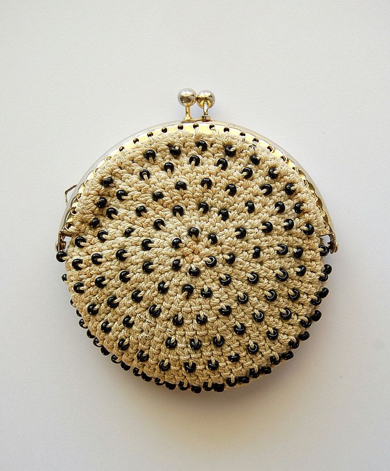 Vintage crocheted coin purse, ecru with black beads, gold purse