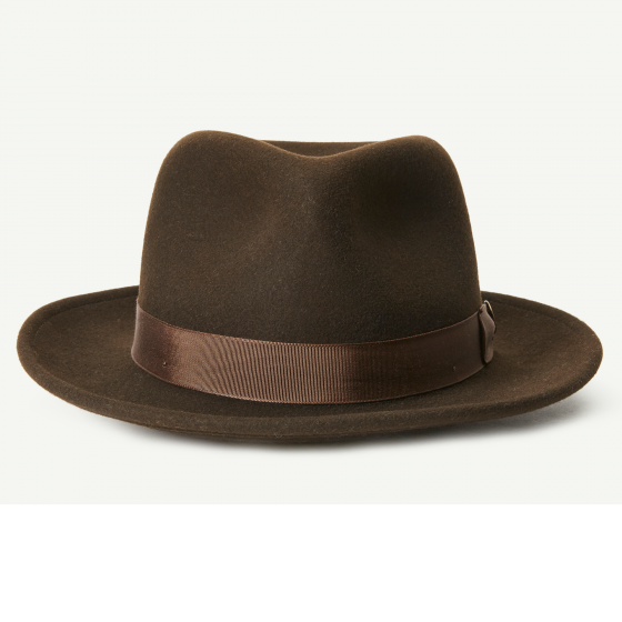 70bd4b29f3c35 The Doctor Brown felt Wide Brim Fedora hat front view