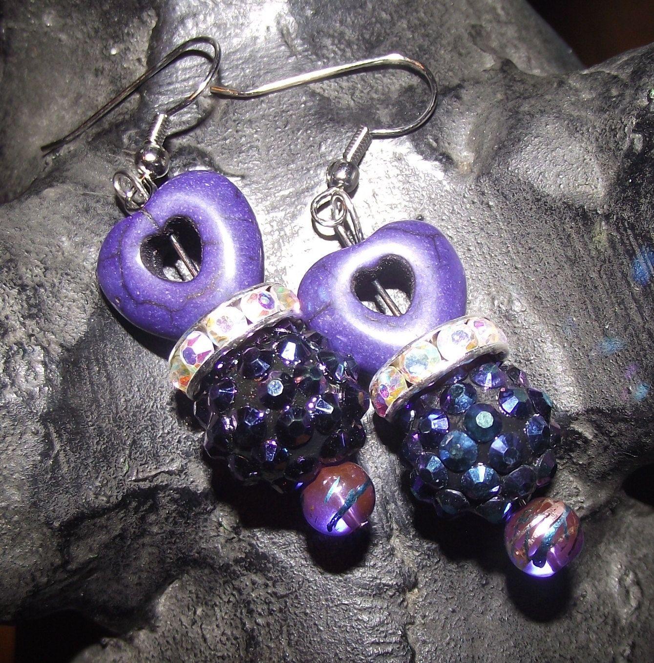 Purple Heart Earrings by reddirtroseokc on Etsy