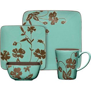 Montville 16 Piece Square Reactive Glaze Stoneware Dinnerware Set Brown Teal $250.99 When you mention  sc 1 st  Pinterest & Montville 16 Piece Square Reactive Glaze Stoneware Dinnerware Set ...