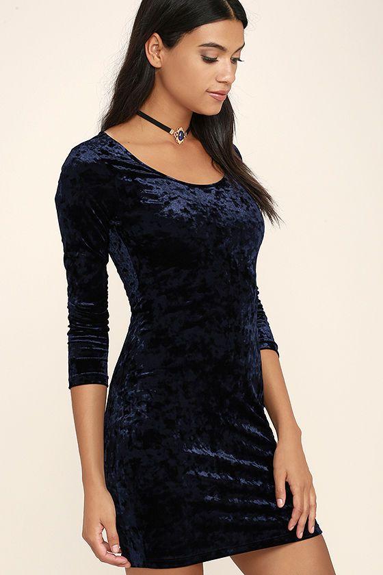 61284c9aa505 Deja Vu Navy Blue Bodycon Dress