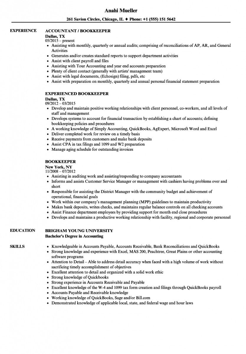 10 Bookkeeper Resume Pattern in 2020 Job resume samples