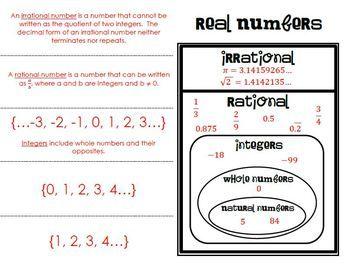 The number system worksheet information