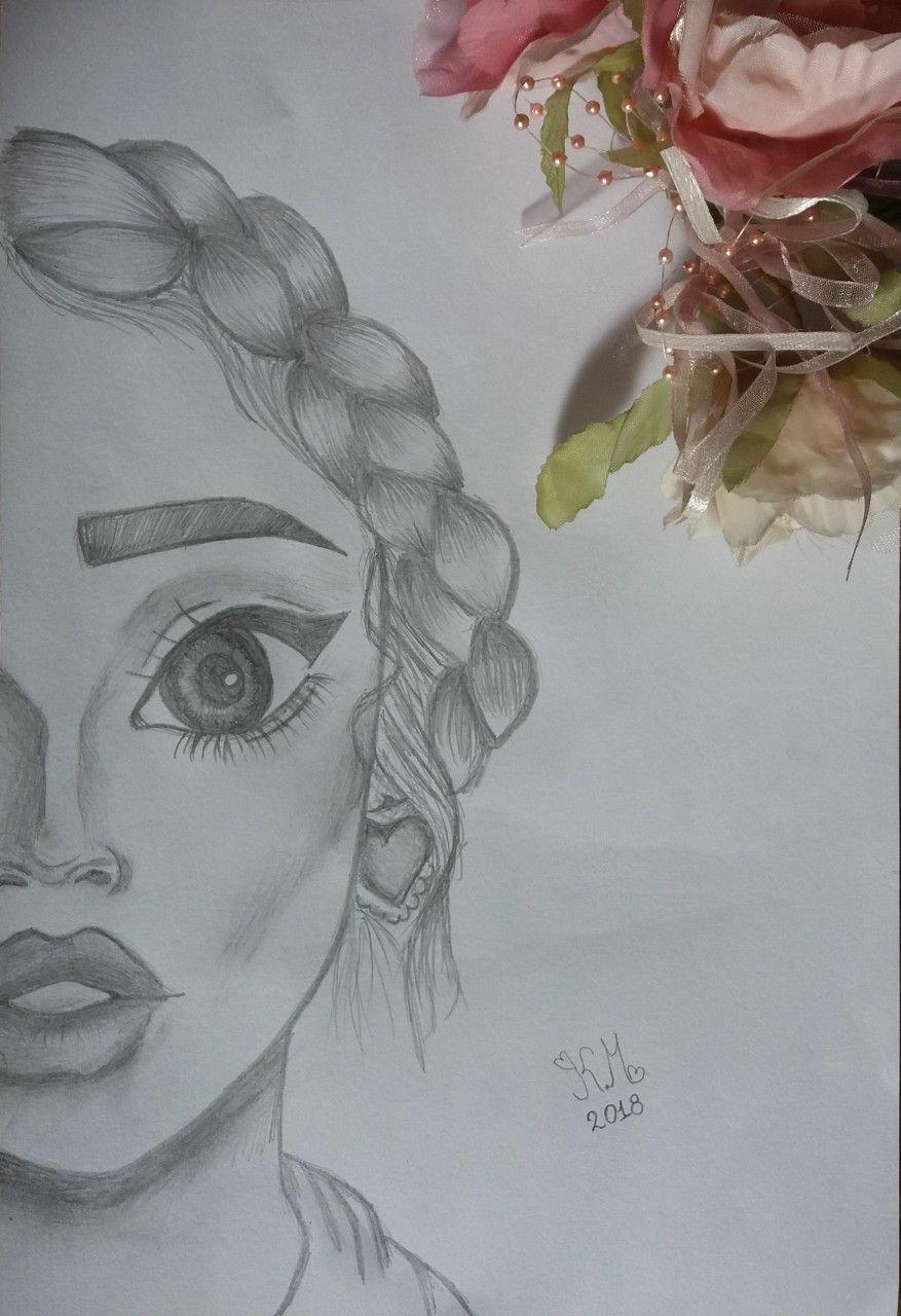 Half Face Protrait Girl Braid Pencil B W Drawing Drawings Cute Drawings Face Drawing