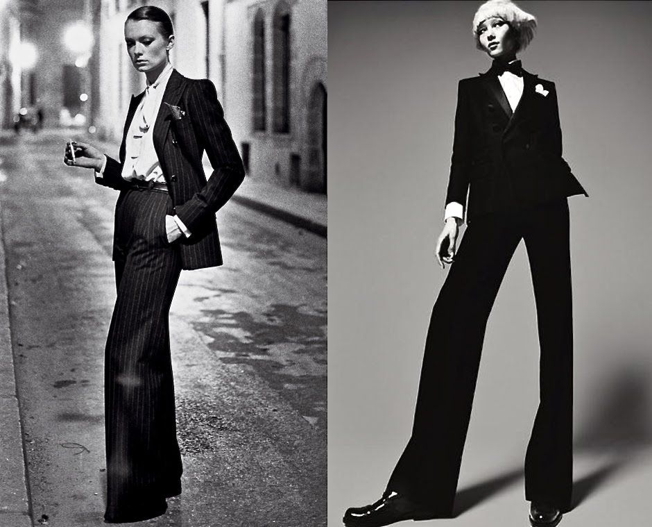 """0e7938c9976 portraitdefemme: Left: Yves Saint Laurent """"Le Smoking"""" [1975] Right ..."""