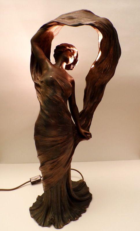 Art Nouveau Loie Fuller French Figural Painted Spelter Lamp Sculpture Alliot NR