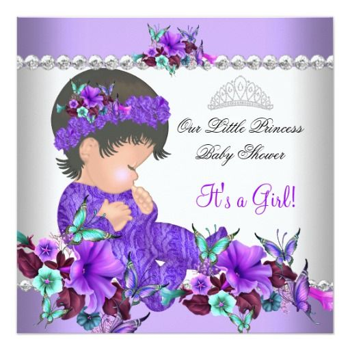 Princess Baby Shower Girl Purple Teal Blue 3 5.25x5.25 Square Paper  Invitation Card