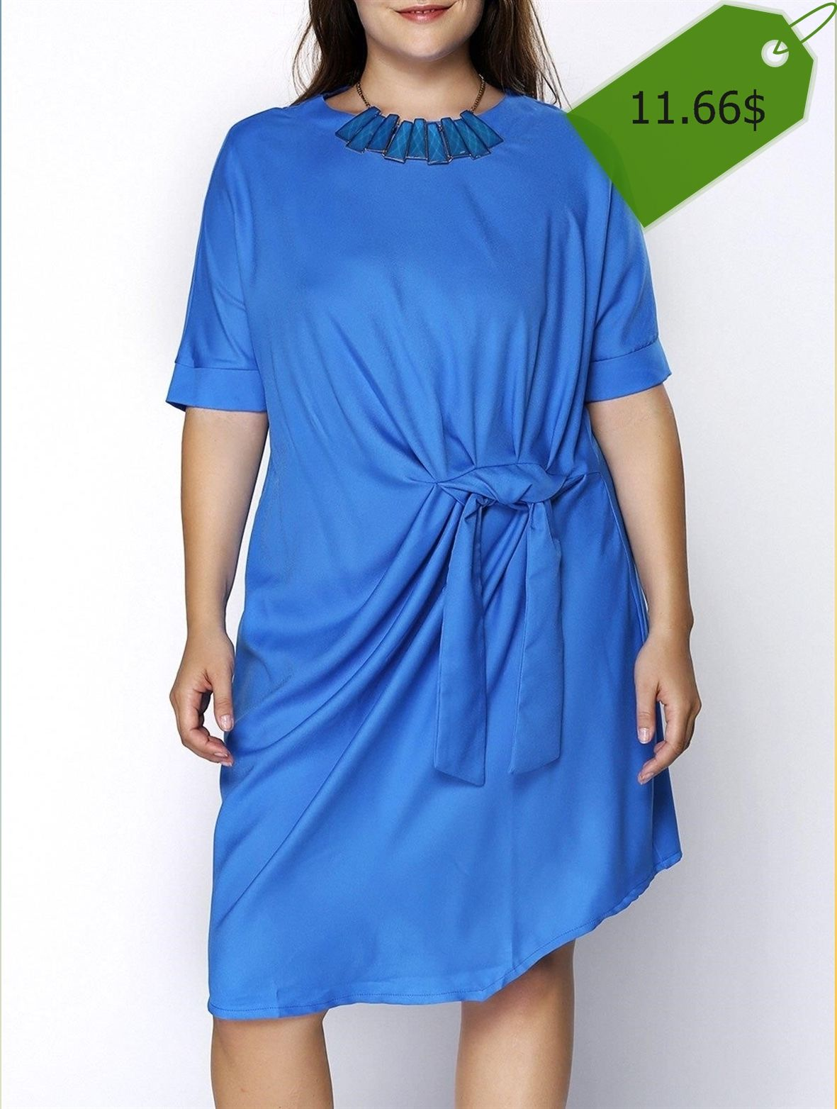 Chic Round Collar Plus Size Knotted Solid Color Dress For Women