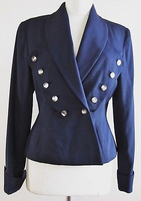 THE J. PETERMAN COMPANY navy blue wool MILITARY STYLE JACKET 8 Ladies