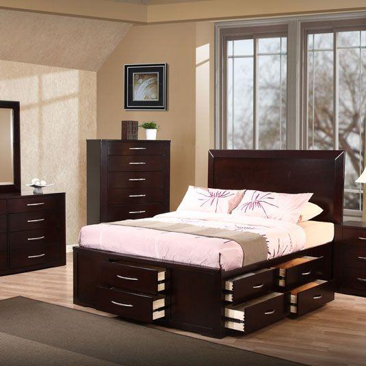 Queen Size Captain S Bed Set Cappuccino Bedroom Furniture Home
