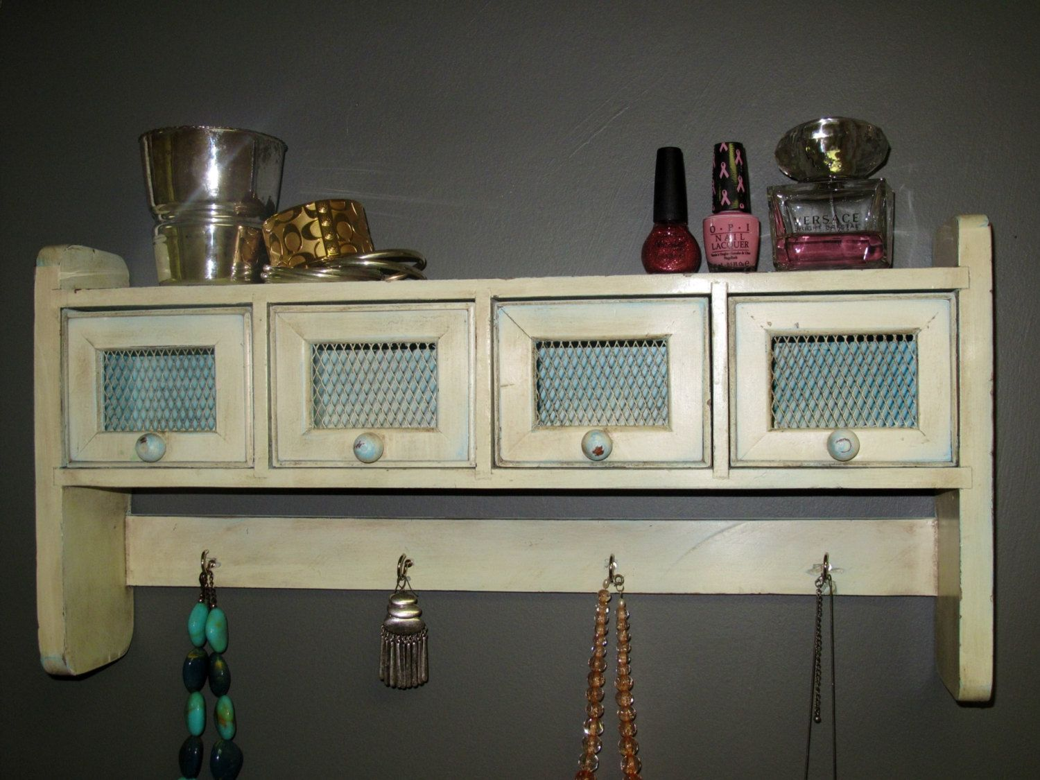 Hanging Shelf / Jewelry Organizer / Makeup by MyFrenchieLife,