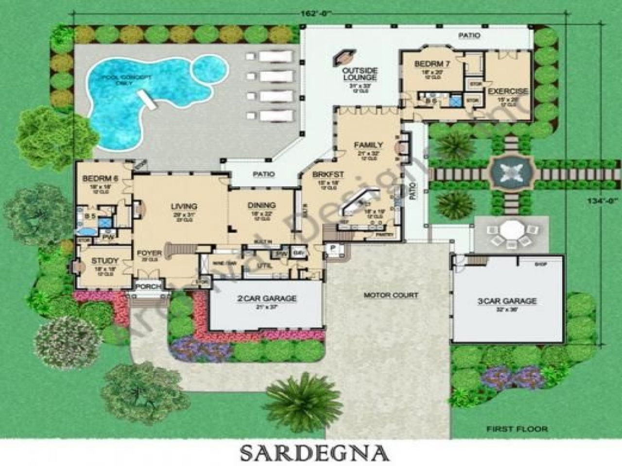 House Plans Floor With Car Garage Mansion Email Info Edesignsplans Click  Quot Print This Page Mark