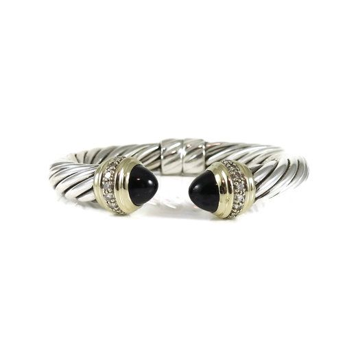 0b62fa0d6505 David Yurman Sterling Silver 18K Yellow Gold .64tcw 10mm Black Onyx Diamond  Cable Classics Bracelet