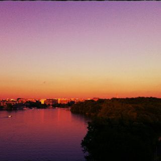 Moonrise over DC from Key Bridge.