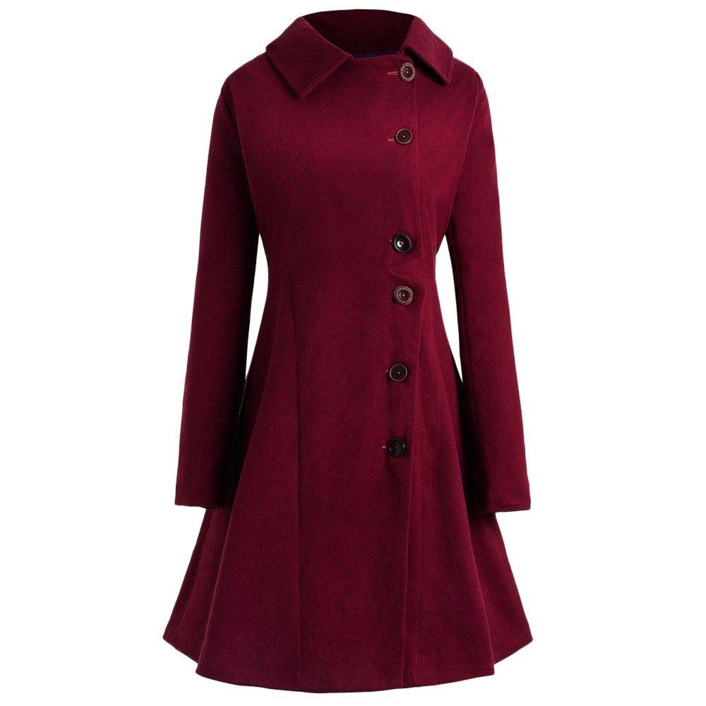 Plus Size Buttoned Long Coat Red Wine 3d94722915 Size L Women Overcoat Long Coat Women Long Sleeve Outerwear
