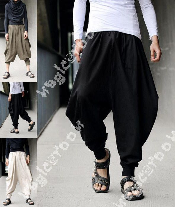 Fashion Mens Harem Baggy Hakama Linen Pants Casual Japanese Samurai Trousers