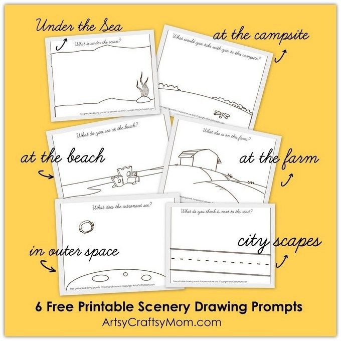 graphic regarding Free Printable Scenery identify No cost Printable Landscapes Drawing Prompts toward Spark Creativeness