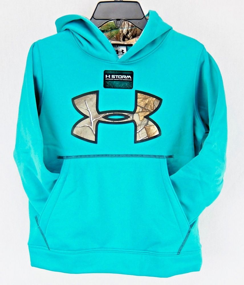 Under Armour Boys Hoodie Youth XS Sweatshirt UA Storm RealTree Blue Green  Size 7  Underarmour  Hoodie  Everyday 0fb275143