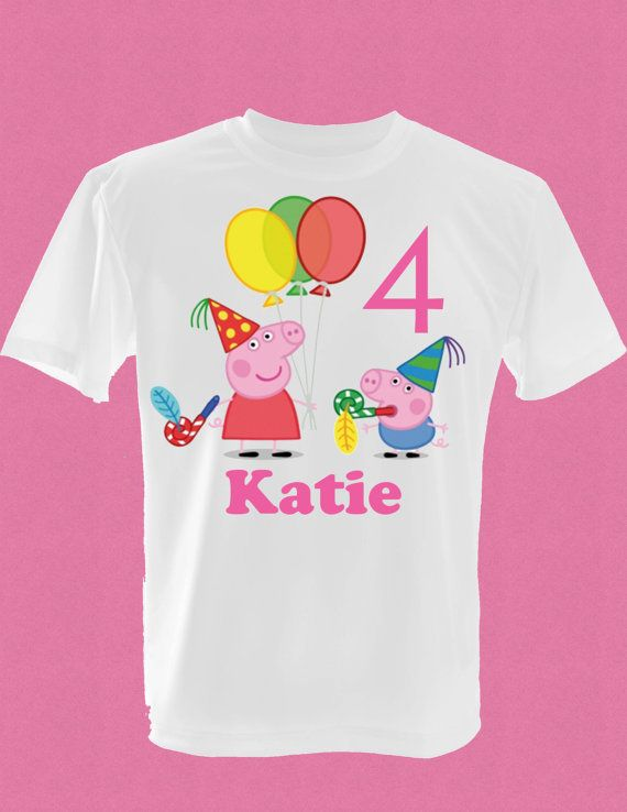 Childrens Peppa Pig Birthday T Shirt