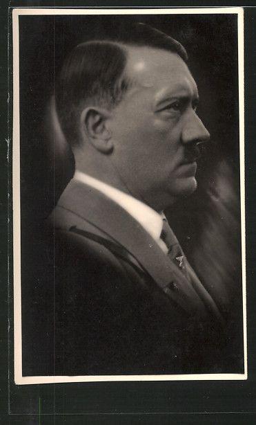 old postcard: AK Erinnerung an die Befreiung der Saar 1935, Portrait Reichskanzler Adolf Hitler