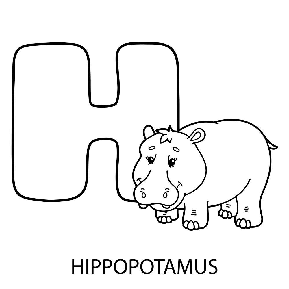 H Is For Hippo Color Page Coloring Pages Quote Coloring Pages Free Coloring Pages