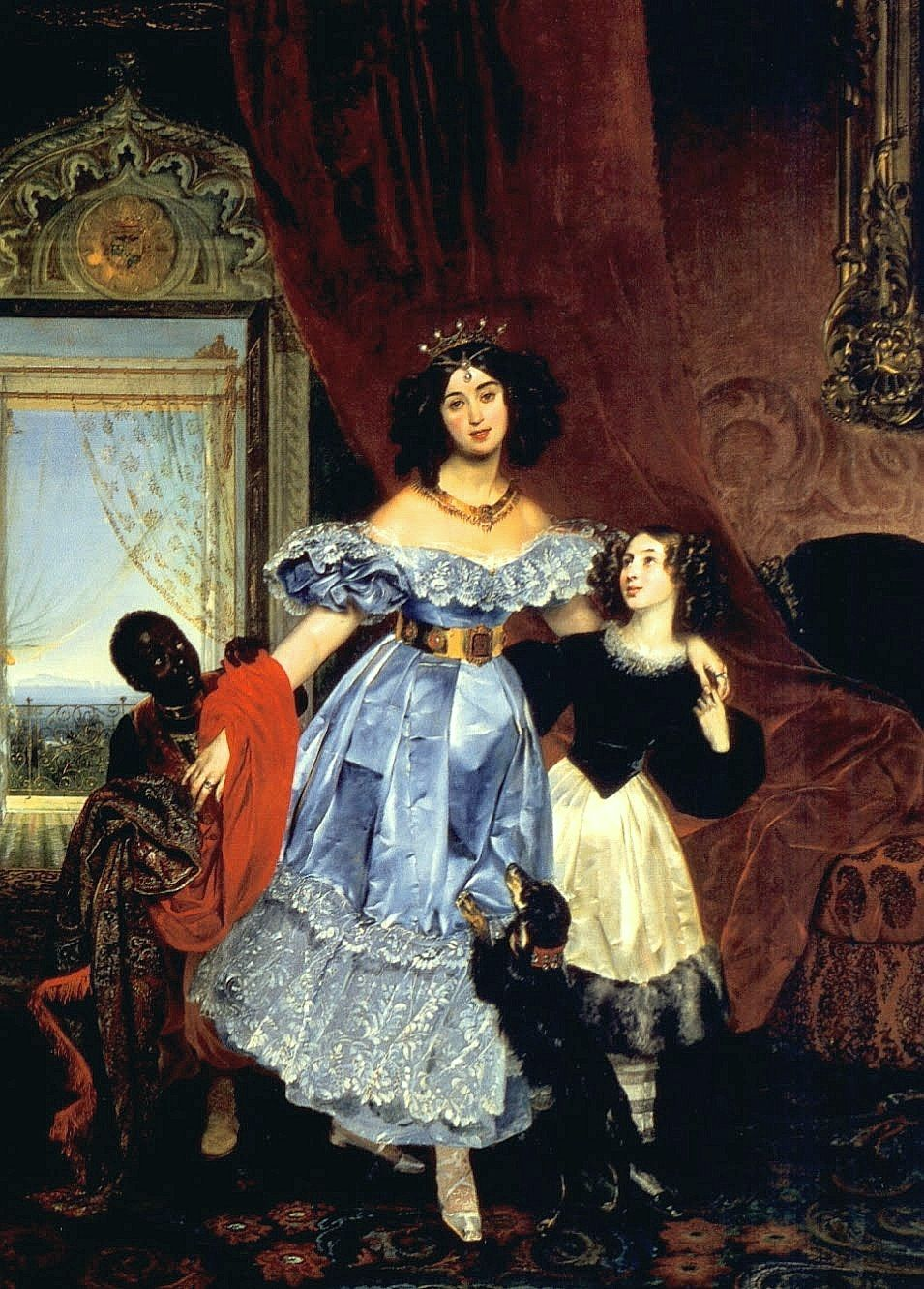Portrait of Countess Julia Samoilova with her stepdaughter Amazillia Pacini and black boy Karl Pavlovich Briullov,1832-34